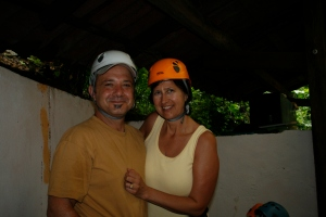 Rick and I gearing up for the zip-line canopy tour