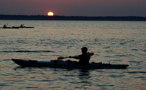 Kayakers in Bellngham Bay at sunset